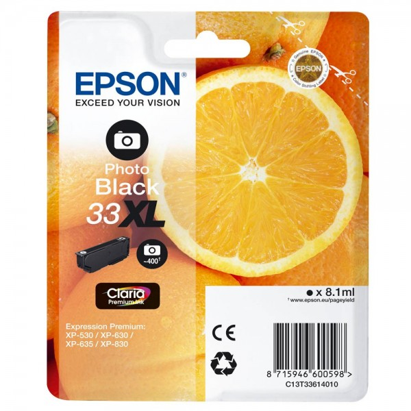 Epson 33 XL / C13T33614012 Tinte Photo-Black