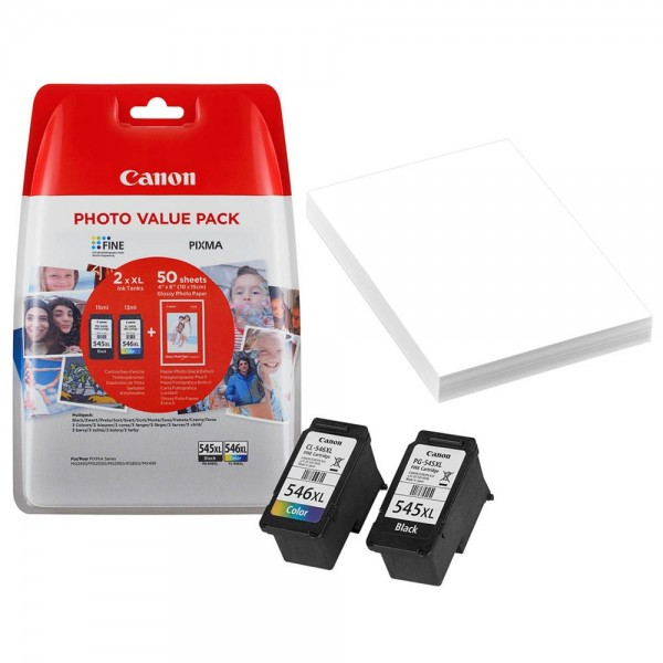 Canon PG-545 XL / CL-546 XL / 8286B006 Tinten Multipack (1x Black / 1x Color) + 50 Blatt Fotopapier