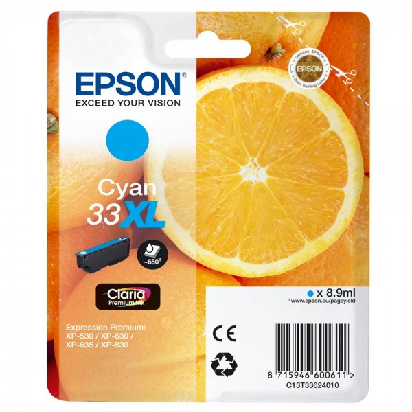 Epson 33 XL / C13T33624012 Tinte Cyan