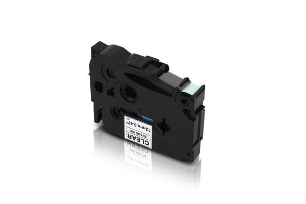 Kompatibel zu Brother TZE-131 P-Touch Schriftband 12mm Schwarz auf Transparent