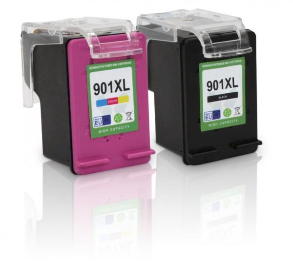 Kompatibel zu HP 901 XL / SD519AE Tinten Multipack (1x Black / 1x Color) mit Füllstandsanzeige