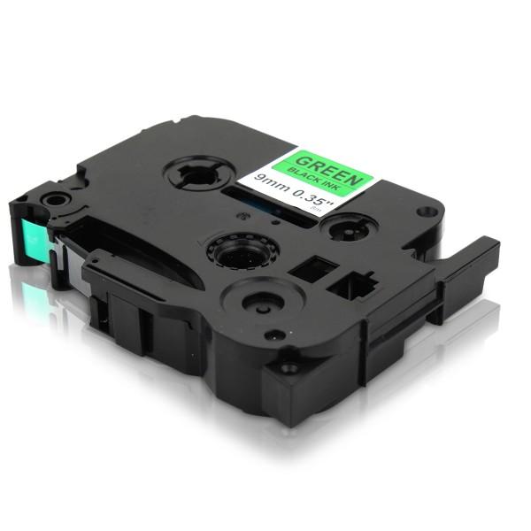 Kompatibel zu Brother TZE-721 P-Touch Schriftband 9mm Schwarz auf Grün