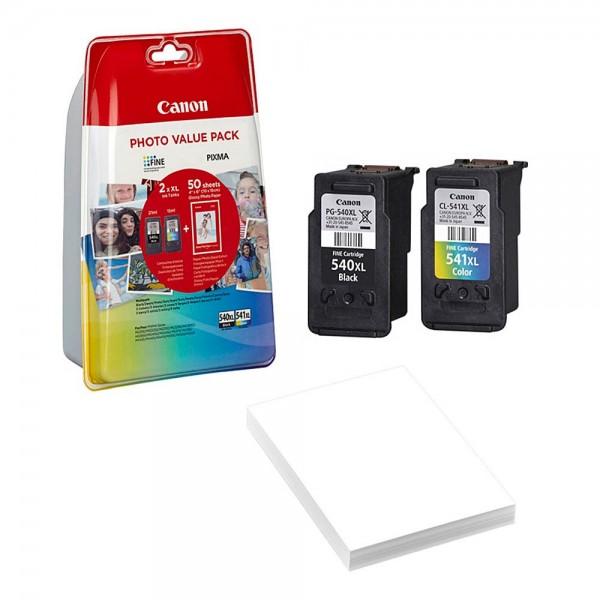 Canon PG-540 XL / CL-541 XL Tinten Multipack (1x Black / 1x Color) + 50 Blatt Fotopapier