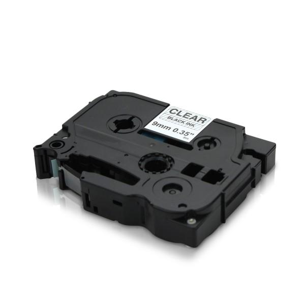 Kompatibel zu Brother TZE-121 P-Touch Schriftband 9mm Schwarz auf Transparent
