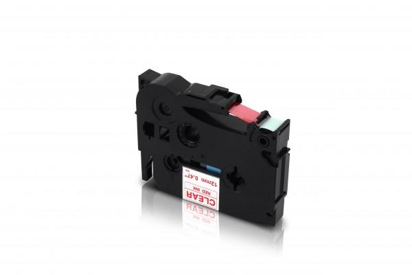 Kompatibel zu Brother TZE-132 P-Touch Schriftband 12mm Rot auf Transparent