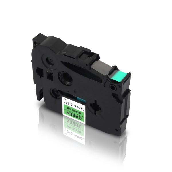 Kompatibel zu Brother TZE-731 P-Touch Schriftband 12mm Schwarz auf Grün