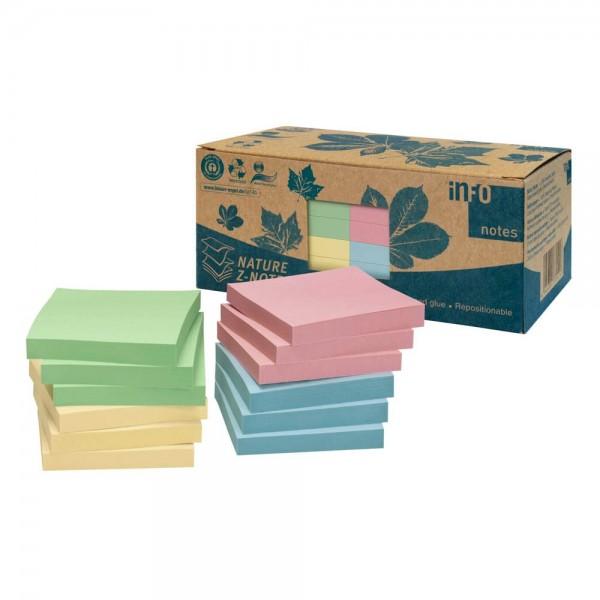 Info 5644-88BOX Recycling Haftnotizen mehrfarbig (12 Blöcke a 100 Blatt)