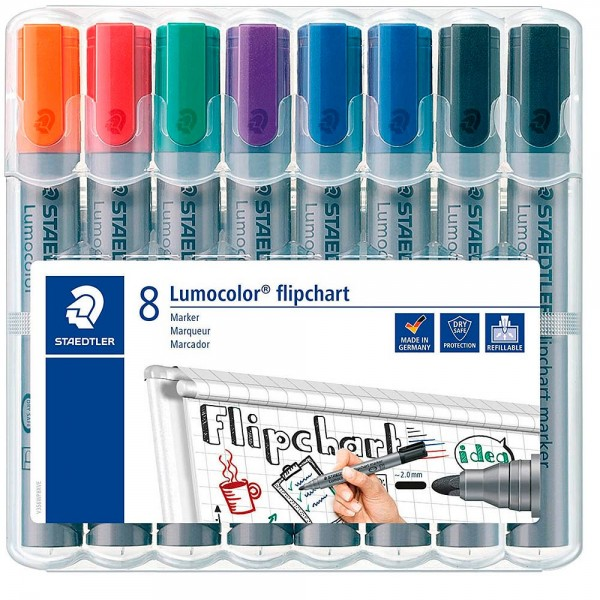 Staedtler Lumocolor Flipchart-Marker-Set farbsortiert 2,0 mm (8er Pack)
