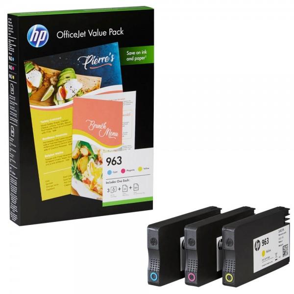 HP 963 / 6JR42AE Tinten Multipack CMY (3er Set) + 25 Blatt HP Professional Inkjet & 100 Blatt HP ColorChoice Papier